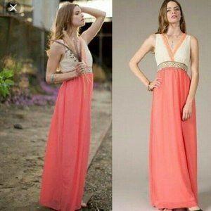 Flying Tomato Pink Lace Grecian Maxi Dress V Neck